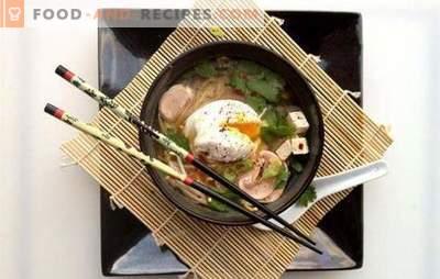 Japanische Suppe ist eine verführerische Geschichte des Ostens. Rezepte verschiedener japanischer Suppen: mit Meeresfrüchten, Fisch, Reisnudeln, Tofu, Miso