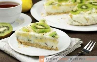 Kuchen mit Kiwi und Banane - süß, duftig und frisch! Rezepte Hüttenkäse, Keks, Joghurt, fauler Kuchen mit Kiwi und Bananen
