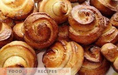 Hastige Brötchen - sie helfen immer! Rezepte schnell Brötchen in Eile mit Zucker, Zimt, Hüttenkäse, Mohn
