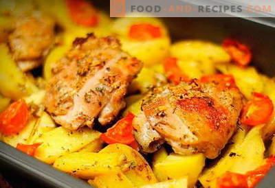 Hähnchen mit Kartoffeln im Ofen - die besten Rezepte. Wie man richtig und lecker im Ofen Hähnchen mit Kartoffeln im Ofen kocht.