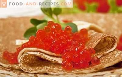 Pfannkuchen mit Kaviar - das ist ein Snack! Eine Auswahl der besten Teigrezepte und Optionen für die Füllung von Pfannkuchen mit Kaviar