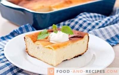 Hüttenkäse-Auflauf mit Grieß wird zum Frühstück und Abendessen zubereitet. Rezepte Hüttenkäse-Auflauf mit Grieß süß und salzig