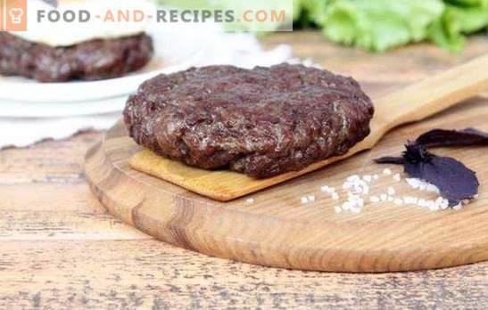 Gehacktes Rindersteak - einfach und geschmackvoll. Wir enthüllen die Hauptgeheimnisse von Hackfleischsteaks mit Ei, Zwiebeln, Mandeln, Sesam und Saucen