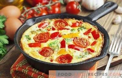 Omelett mit Gemüse - ein helles und gesundes Frühstück. Wie man ein Omelett mit Gemüse in einer Pfanne, einem langsamen Kocher, Ofen und einer Mikrowelle
