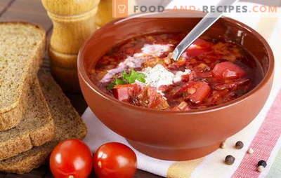 Wie kocht man Suppe? Lehren Sie alle! Kochen Sie Borsch mit Rüben, Sauerkraut und frischem Kohl, Bohnen, Sauerampfer und Sie können mit Sprotte