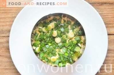 Schichtsalat mit Hähnchen, Ei und Frühlingszwiebeln