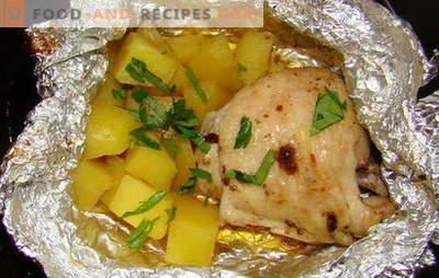 Hähnchen mit Kartoffeln im Ofen in Folie - neue Rezepte. Wie man Hähnchen mit Kartoffeln im Ofen in Folie