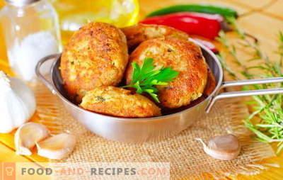 Rosa Lachskoteletts sind ein Meisterwerk für Fischliebhaber. Rezepte für rosa Lachs-Frikadellen mit Käse, Reis, Hüttenkäse, Tintenfisch und Gemüse