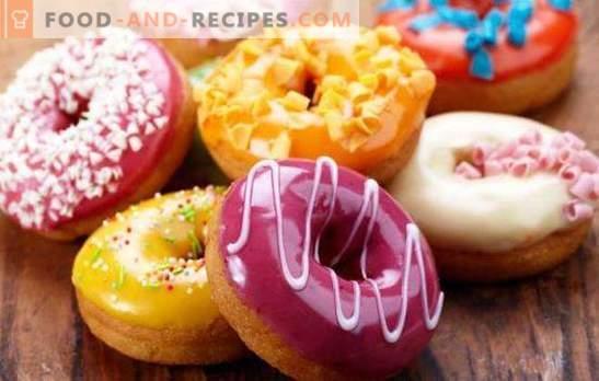 Amerikanische Donuts - das sind helle Donats! Rezepte für verschiedene amerikanische Donuts mit Zuckerguss und Füllungen