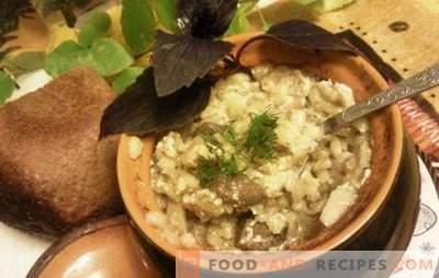Perlovka in Töpfen - lecker, nicht das Wort! Rezepte Gerste mit Fleisch in Töpfen mit Gemüse, Pilzen und Milch