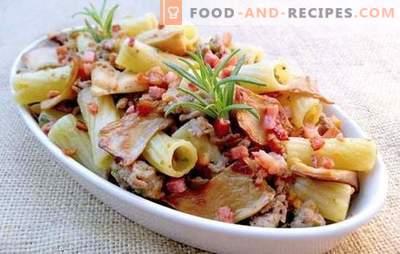 Pasta mit Schweinefleisch in seiner ganzen Pracht! Rezepte für gebackene und gebratene Pasta und Pasta mit Schweinefleisch
