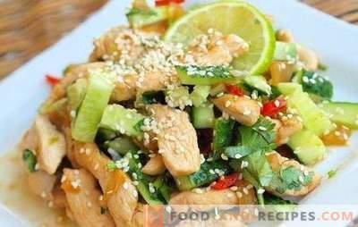 Salat mit Hühnerbrust und Gurken - eine Vorspeise, die sich nicht schämen lässt. Die besten Rezepte für Salate mit Hühnerbrust und Gurke