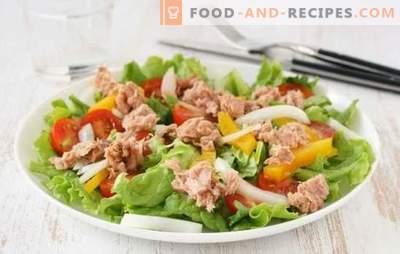 Thunfischsalat (Schritt-für-Schritt-Rezept) ist eine originelle Vorspeise für Fisch. Thunfischsalat Schritt für Schritt: Mehrere Kochvarianten